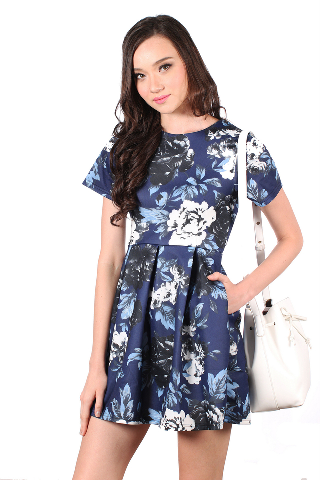 TSW Wallflower Garden Skater Dress in Midnight Floral