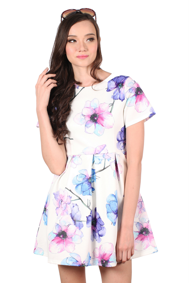 TSW Wallflower Garden Skater Dress in Floral Blooms