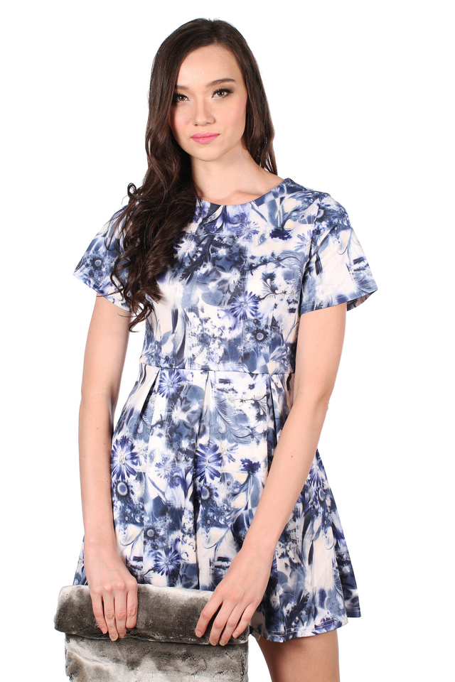 TSW Wallflower Garden Skater Dress in Blue Abstract (XS)