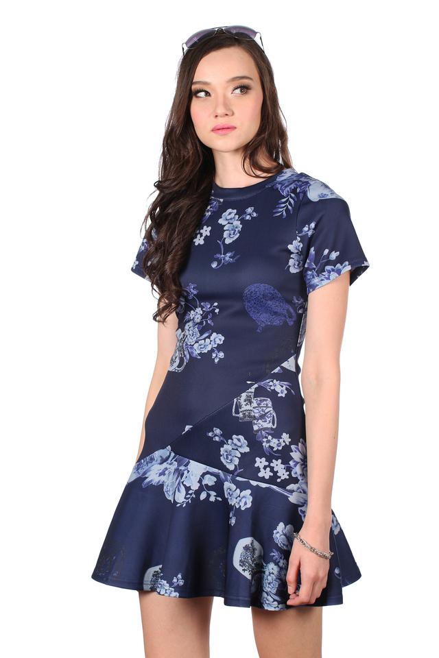 TSW Tiara Dropwaist Dress in Blue Porcelain (XS)