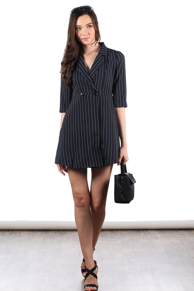 TSW Jovin Tuxedo Trench Dress in Pinstripes (L)