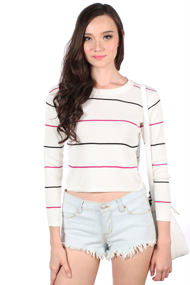 Melcia Sewn Stripes Long Knit In Cream