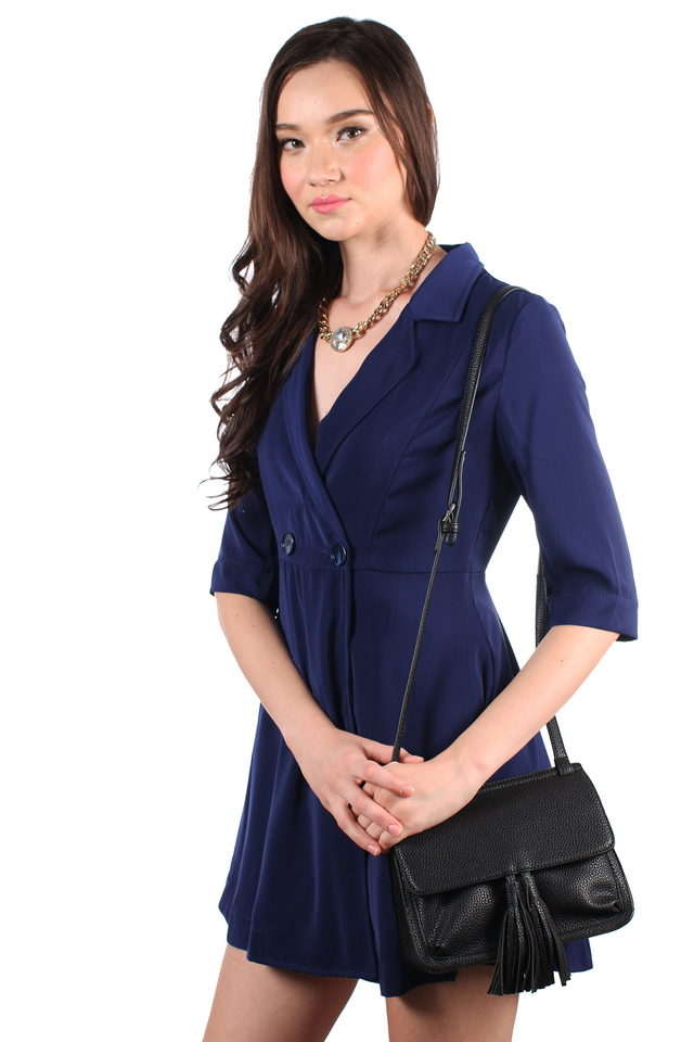 TSW Jovin Tuxedo Trench Dress in Navy