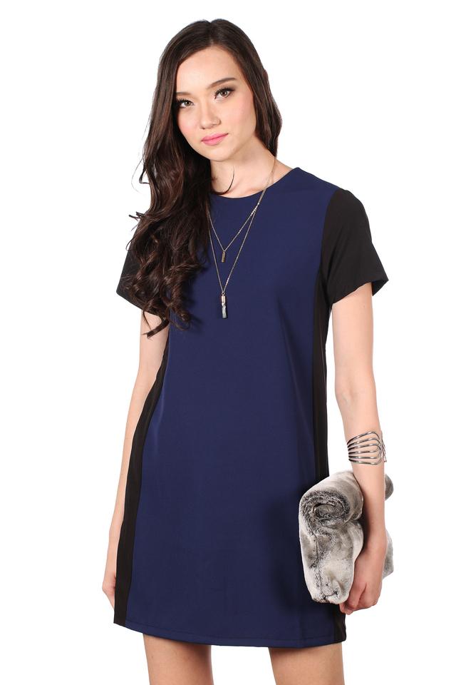 TSW Eunice Silhouette Shift Dress in Navy