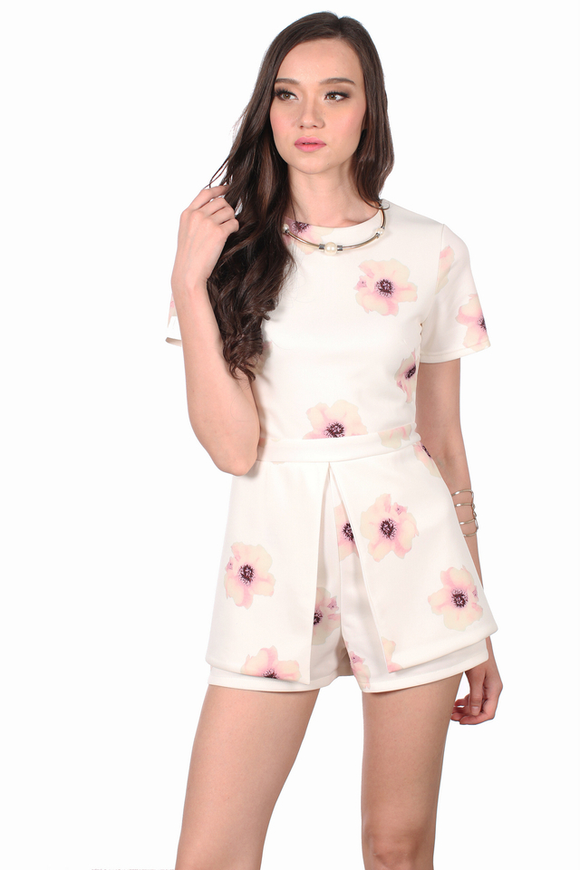 TSW Thea Sleeve Overlap Romper in Pink Rose (XS)