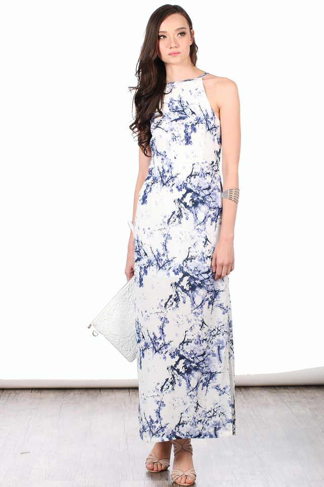 TSW Victoria Side Slits Maxi Dress in Blue Porcelain (L)