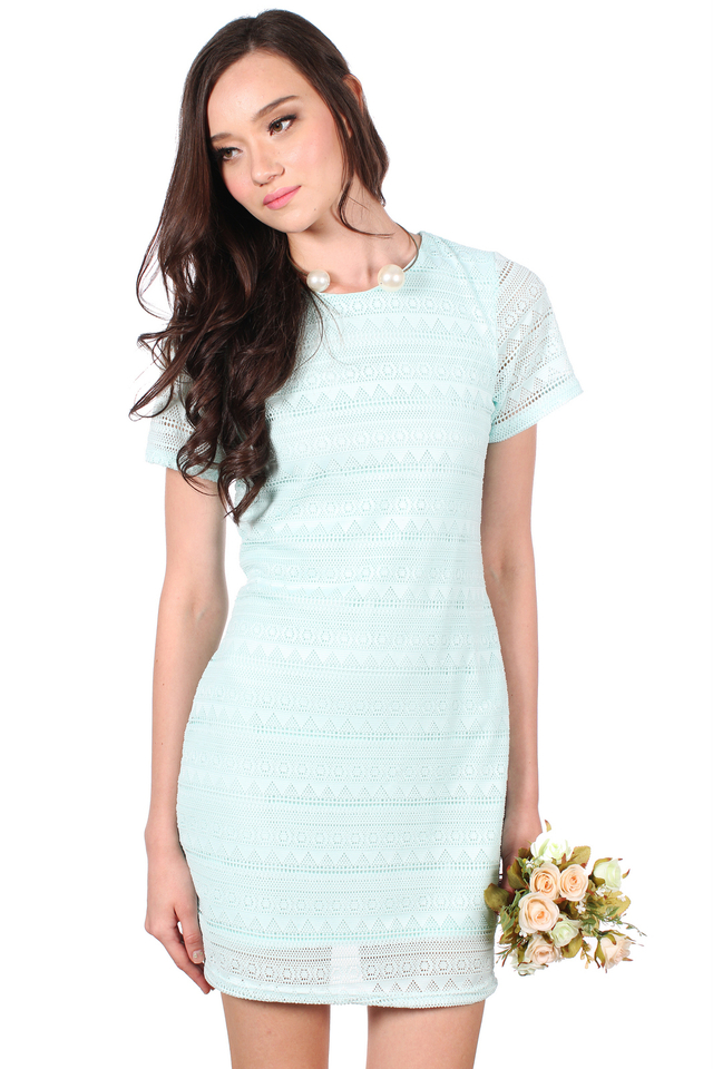 TSW Bella Classic Lace Dress in Tiffany