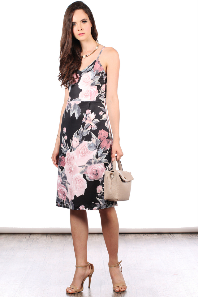 TSW Peony Neoprene Midi Dress in Black