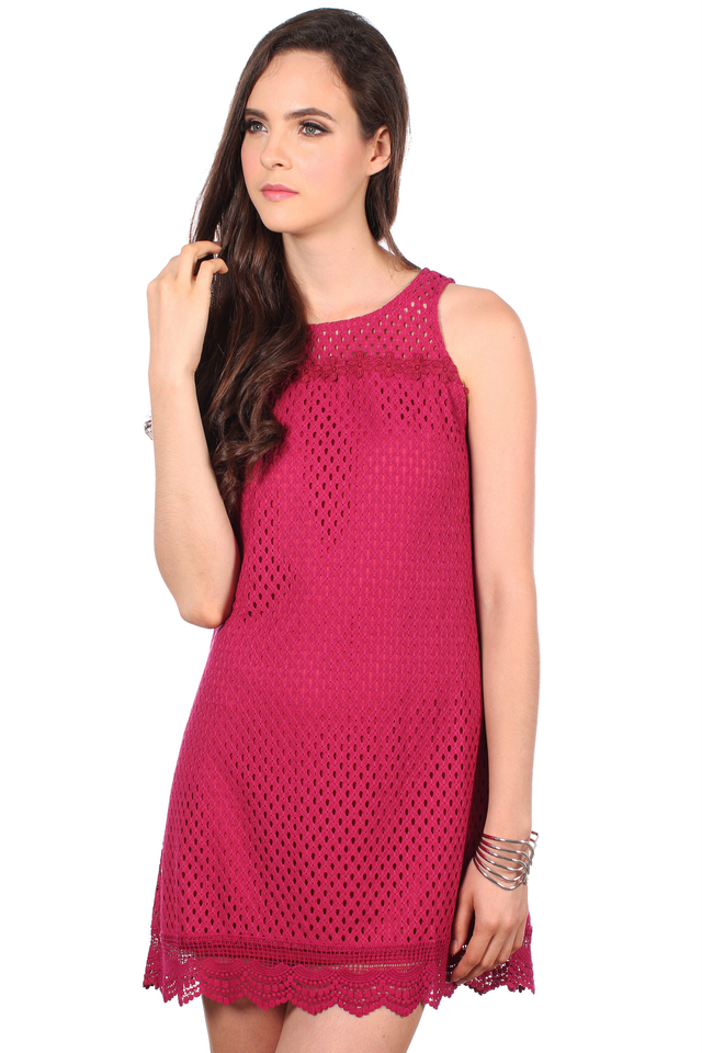 TSW Swanlake Crochet Flare Dress in Raspberry (L)