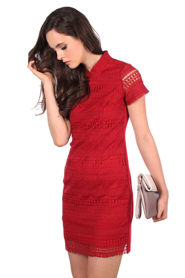 TSW Modern Peony QiPao Dress in Deep Red