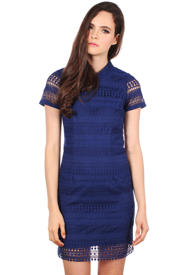 TSW Modern Peony QiPao Dress in Midnight Blue