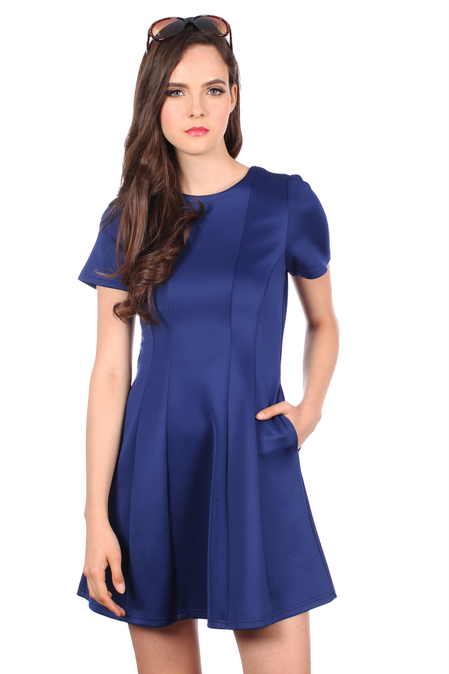 TSW Perrie Panel Neoprene Dress in Midnight Blue