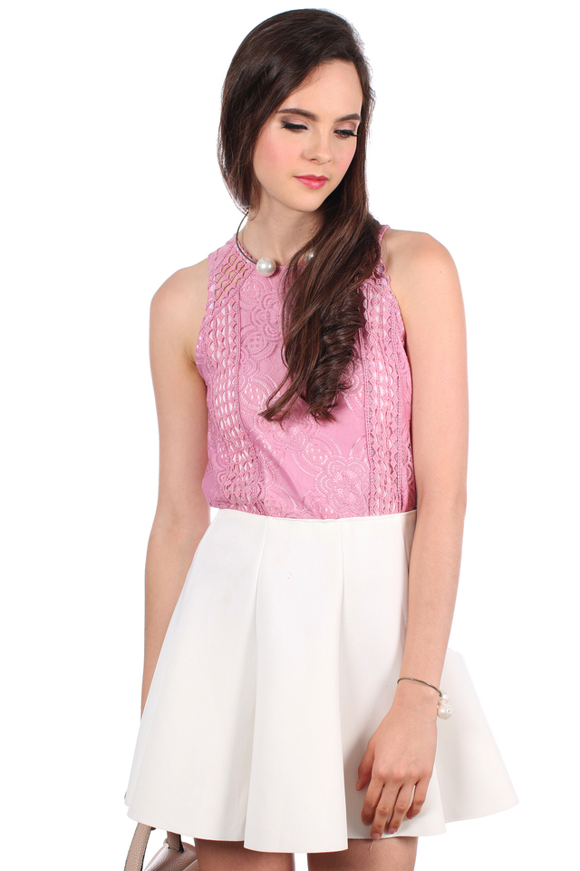 TSW Poppies Lace Top in Sweet Pink (L)