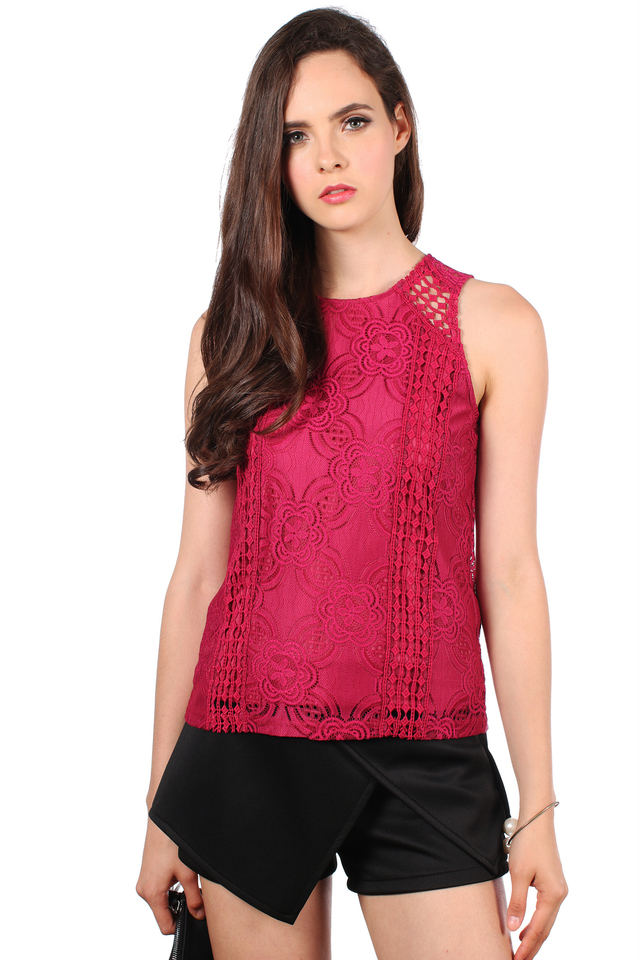 TSW Poppies Lace Top in Plum (L)