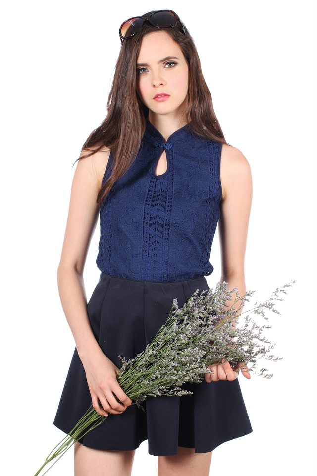 TSW Chantilly Crochet Cheongsam Top in Midnight Blue