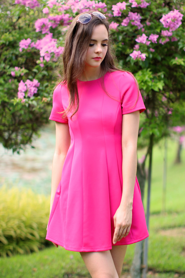 TSW Perrie Panel Neoprene Dress in Fuchsia (XS)