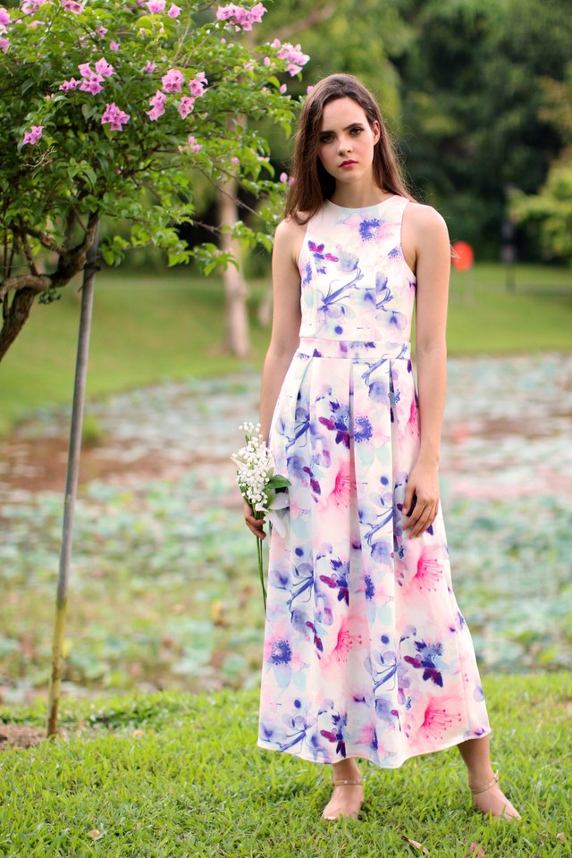 TSW Faerie Garden Maxi Dress in Pink Bloom (XS)