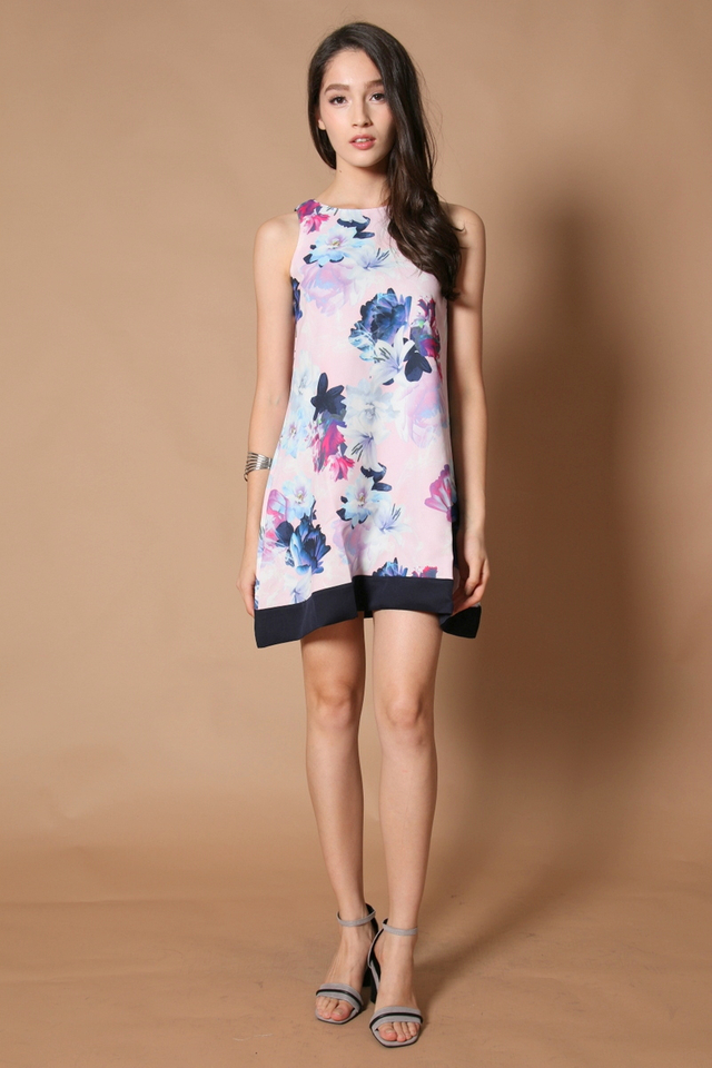 *RESTOCK* TSW Spring Floral Reversible Dress in Navy Blue Hem