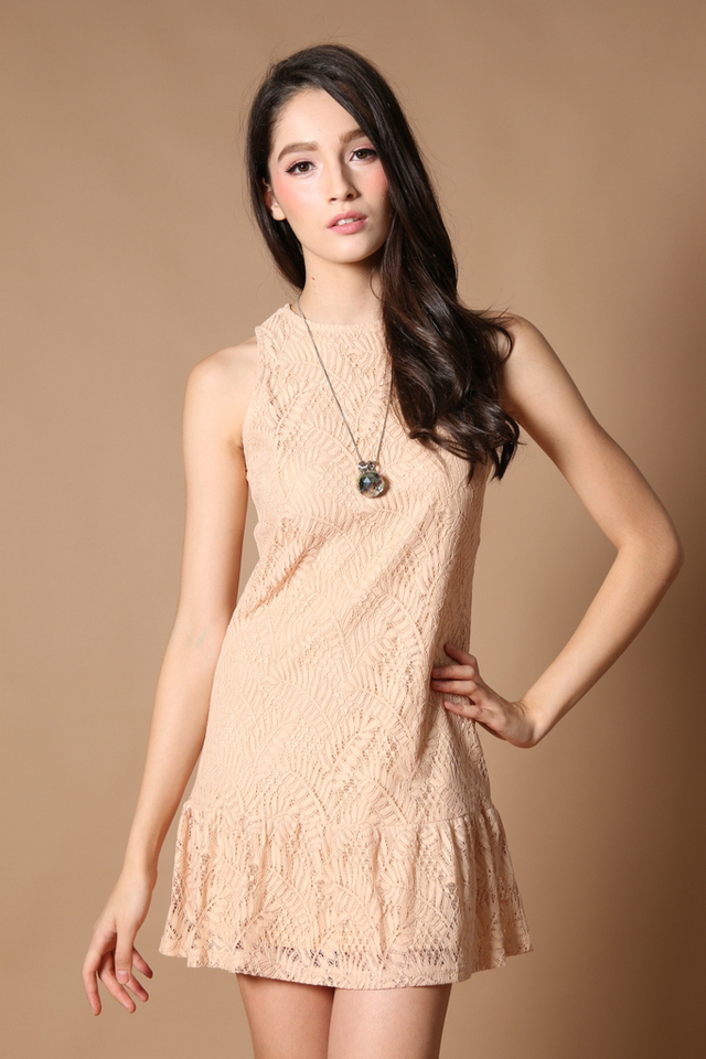 TSW Raine Drop Waist Dress in Nude (L)