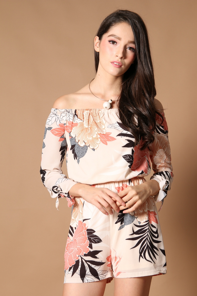 TSW Qadira Off Shoulder Romper in Peach Floral