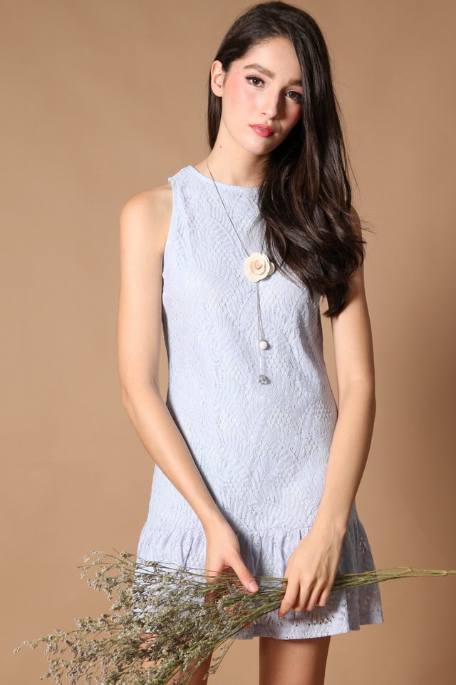 TSW Raine Drop Waist Dress in Powder Blue