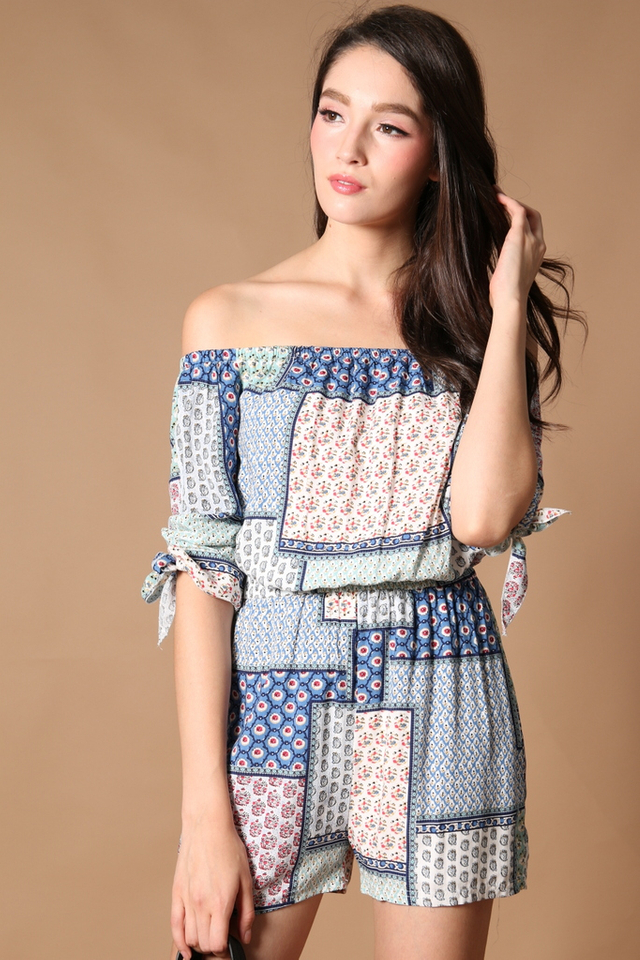 TSW Qadira Off Shoulder Romper in Patchwork (L)