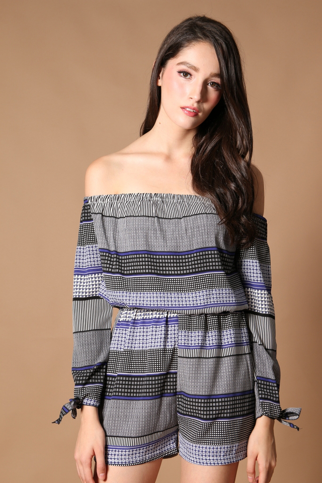 TSW Qadira Off Shoulder Romper in Patterns