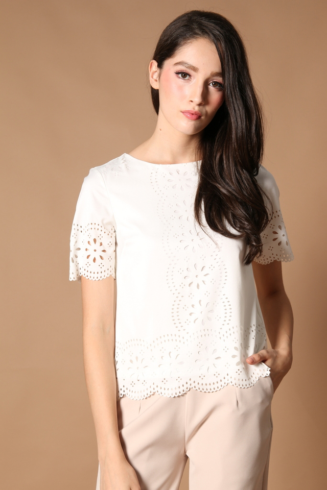 TSW Scallop Laser Cut Top in White