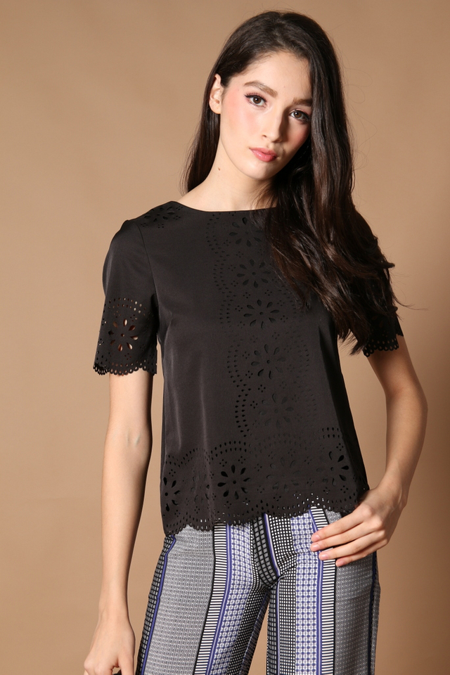 TSW Scallop Laser Cut Top in Black