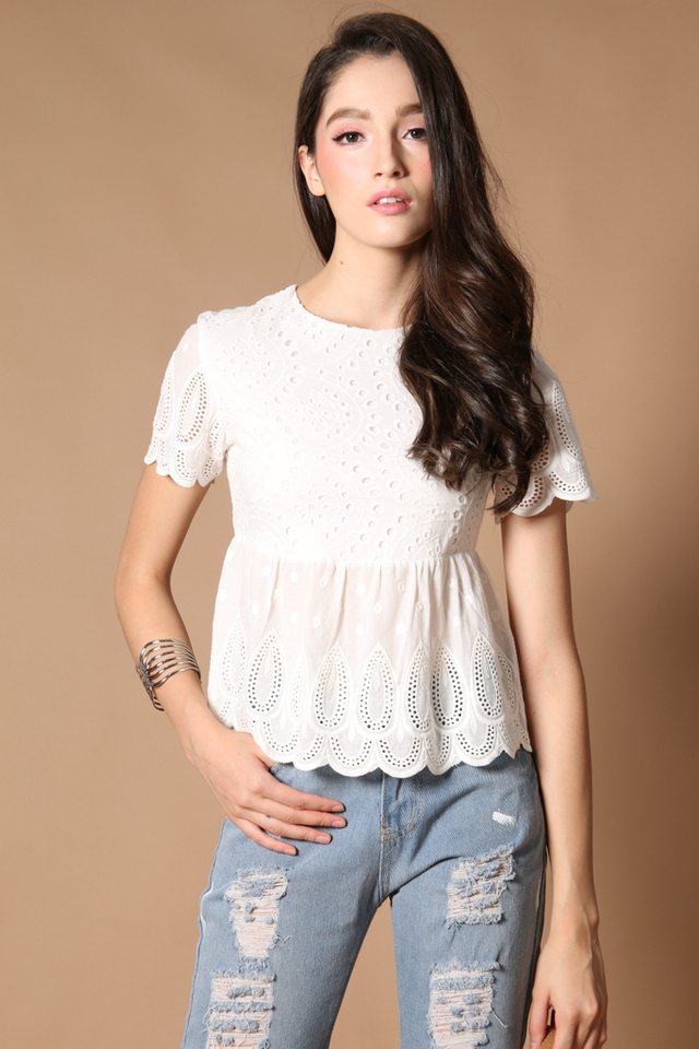Kayla Eyelet Babydoll Top in White