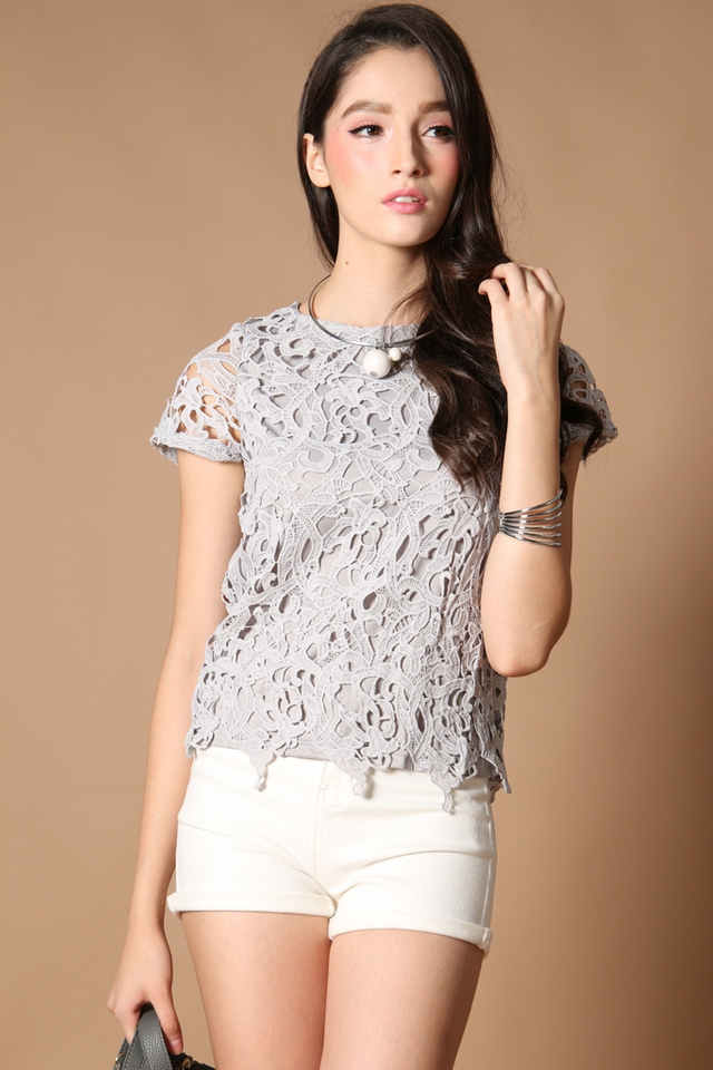 TSW Lilia Crochet Box Top In Grey (S)