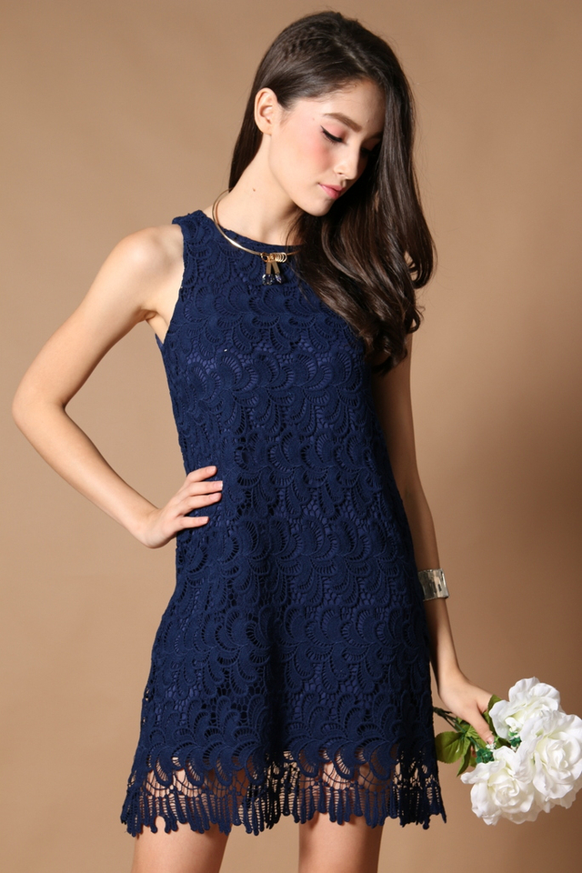 TSW Ciara Scallop Edge Dress in Navy