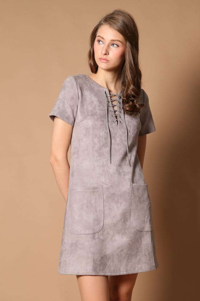 TSW Brooklyn Tie Lace Suede Dress in Grey (XS)