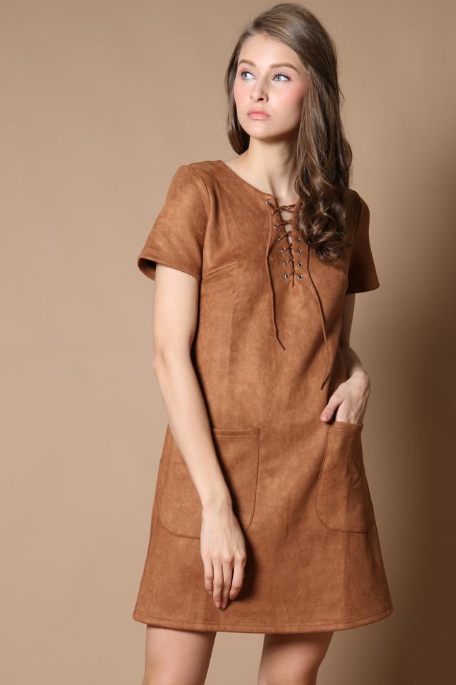 TSW Brooklyn Tie Lace Suede Dress in Tan (XS)