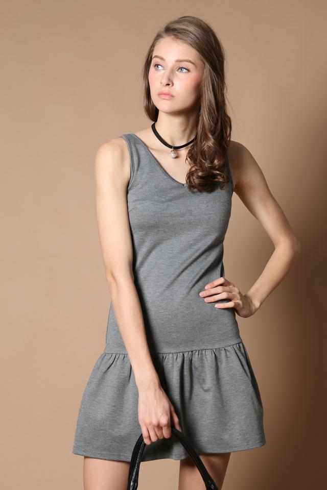 TSW Georgie Drop Waist Dress in Grey (XS)