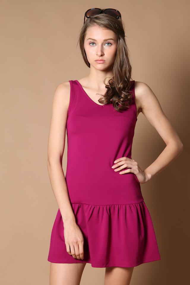 TSW Georgie Drop Waist Dress in Berry (XS)