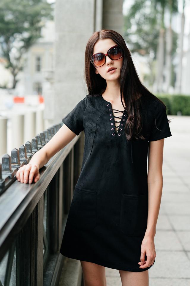 TSW Brooklyn Tie Lace Suede Dress in Black
