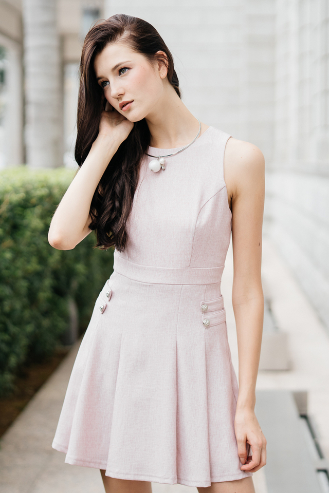Julie Military Work Dress in Pink (XL)