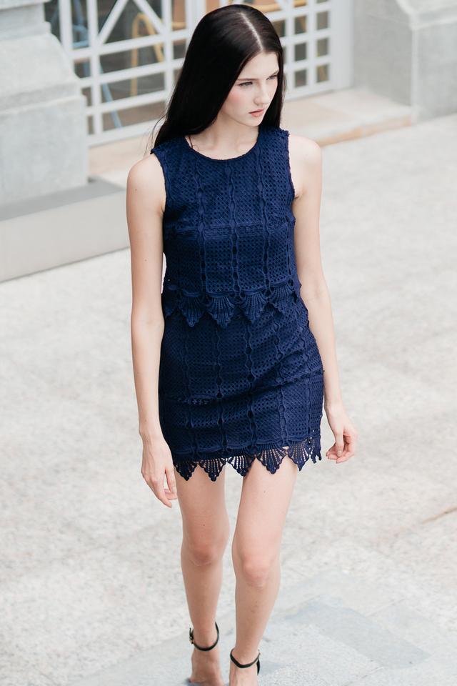 Darwin Crochet Tiered Dress in Navy (XL)