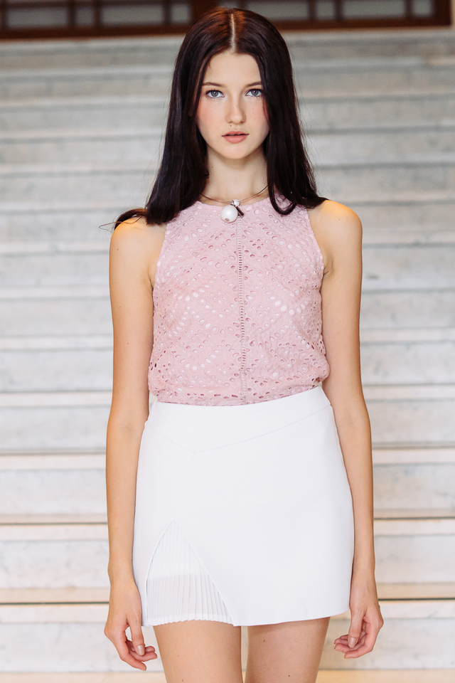 TSW Ruby Eyelet Top in Pink (XL)