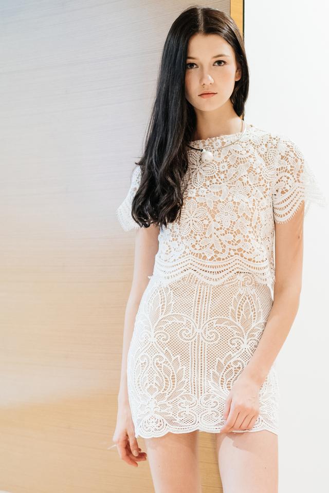 TSW Ellie Crochet Skirt in White (XL)