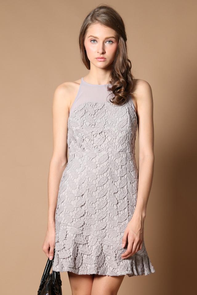 Cornelia Crochet Drop Waist Dress in Grey