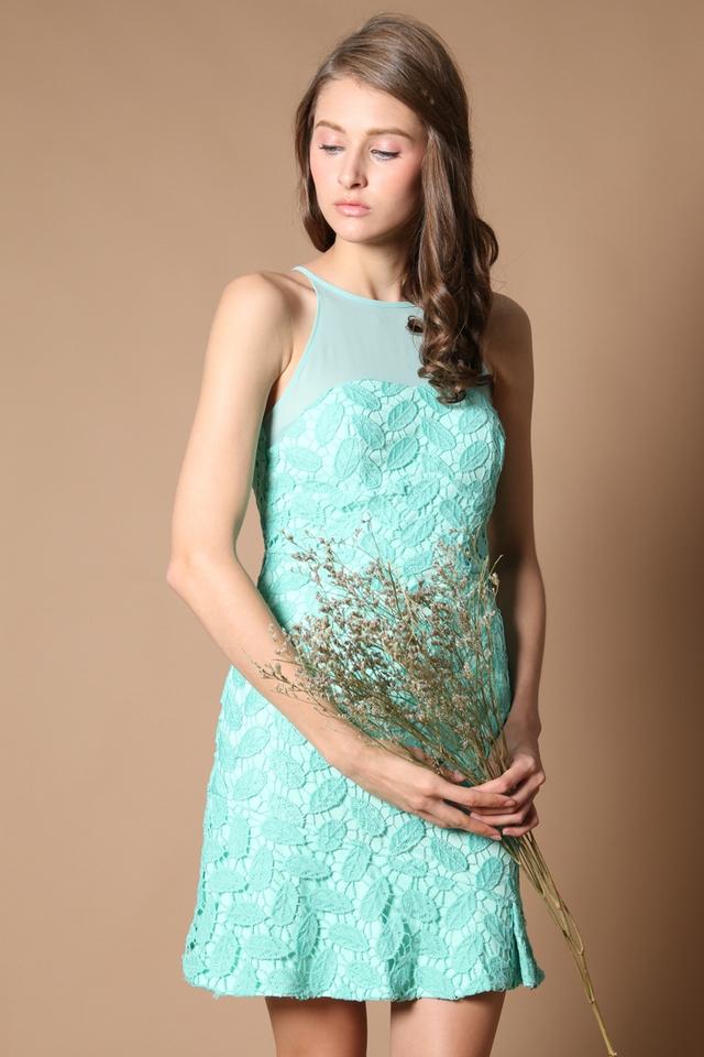 Cornelia Crochet Drop Waist Dress in Tiffany