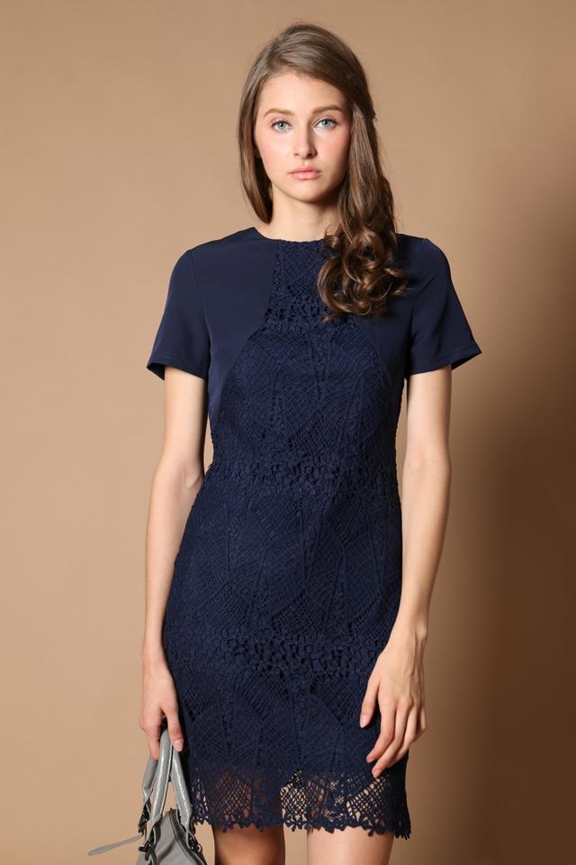 Carlyn Crochet Panel Dress in Navy (XS)