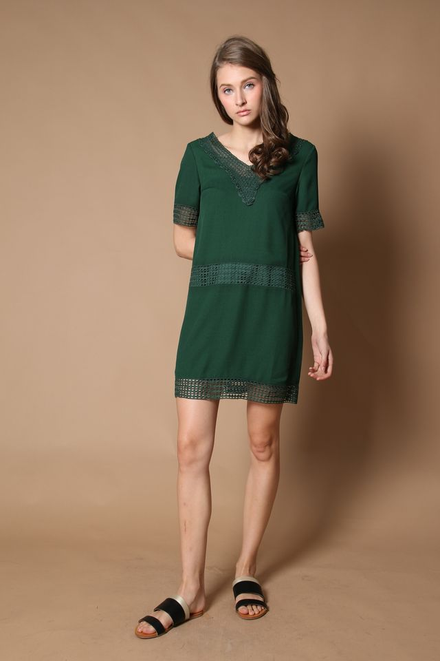 Dion Crochet Lounge Dress in Forest (XS)