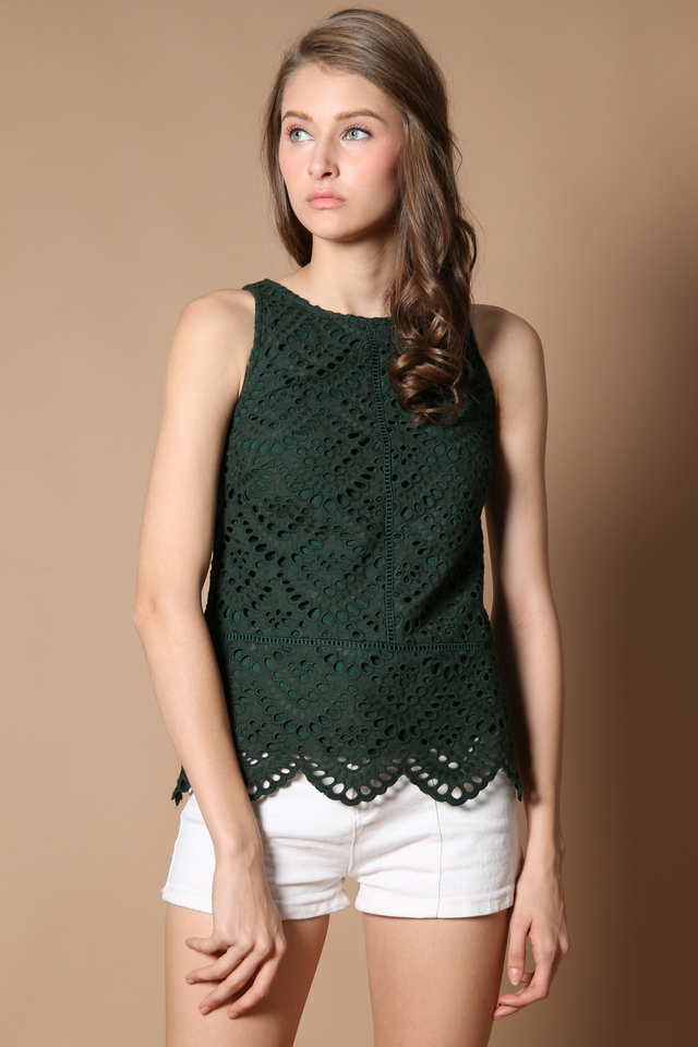 TSW Ruby Eyelet Top in Forest