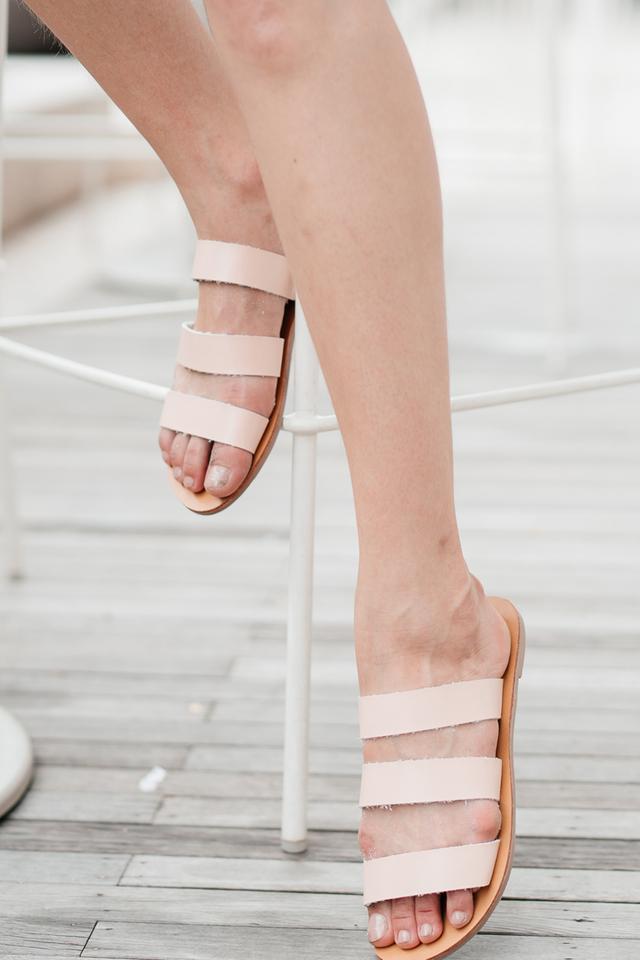 Sadie Straps Sliders in Nude Pink