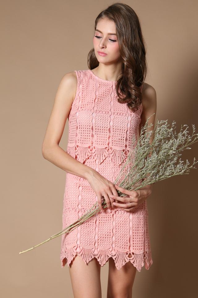 Darwin Crochet Tiered Dress in Peach (XS)