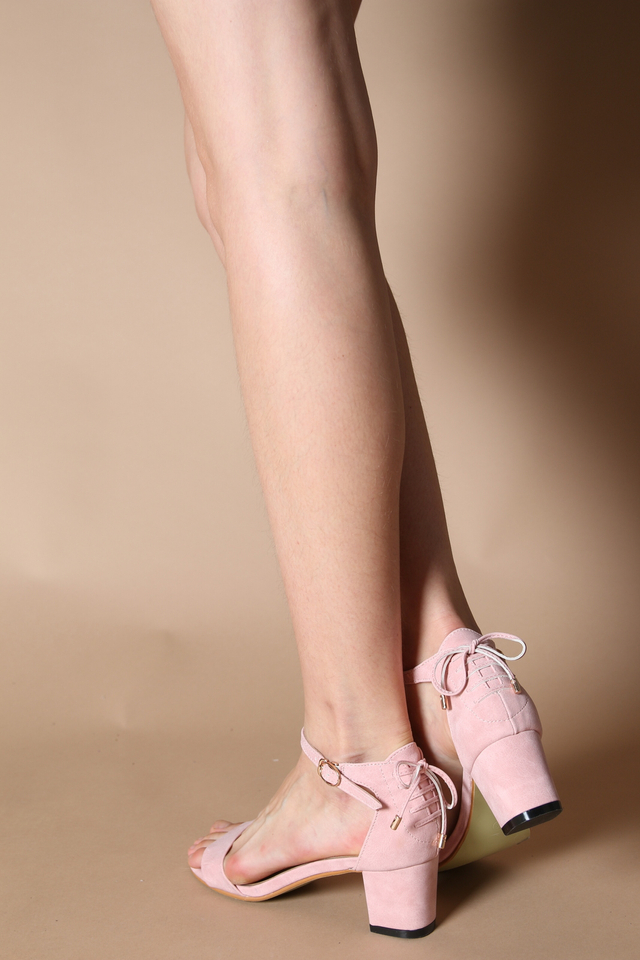 Bendet Lace Back Heels in Dusty Pink