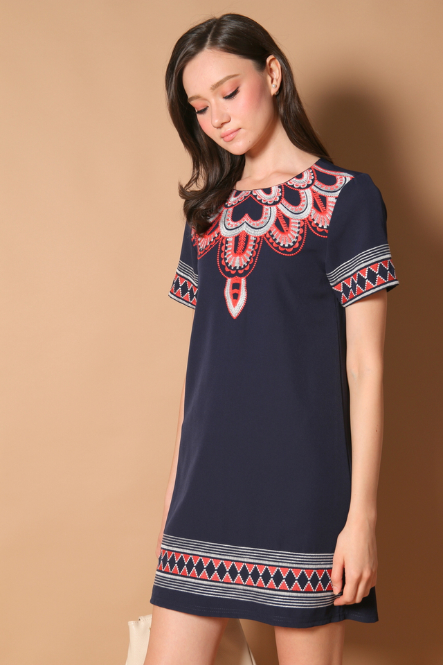 Francesca Embroidery Shift Dress in Navy